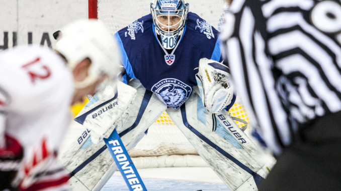 Minski Dinamo väravavaht Dmitri Miltšakov teeb Frontier Hockey keppidele nime KHL-i liigas foto Frontier Hockey