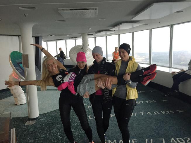 Sport teeb õnnelikuks - Margit, Marge, Raili ja Ave selle aasta teletorni trepijooksul. Foto: Erakogu