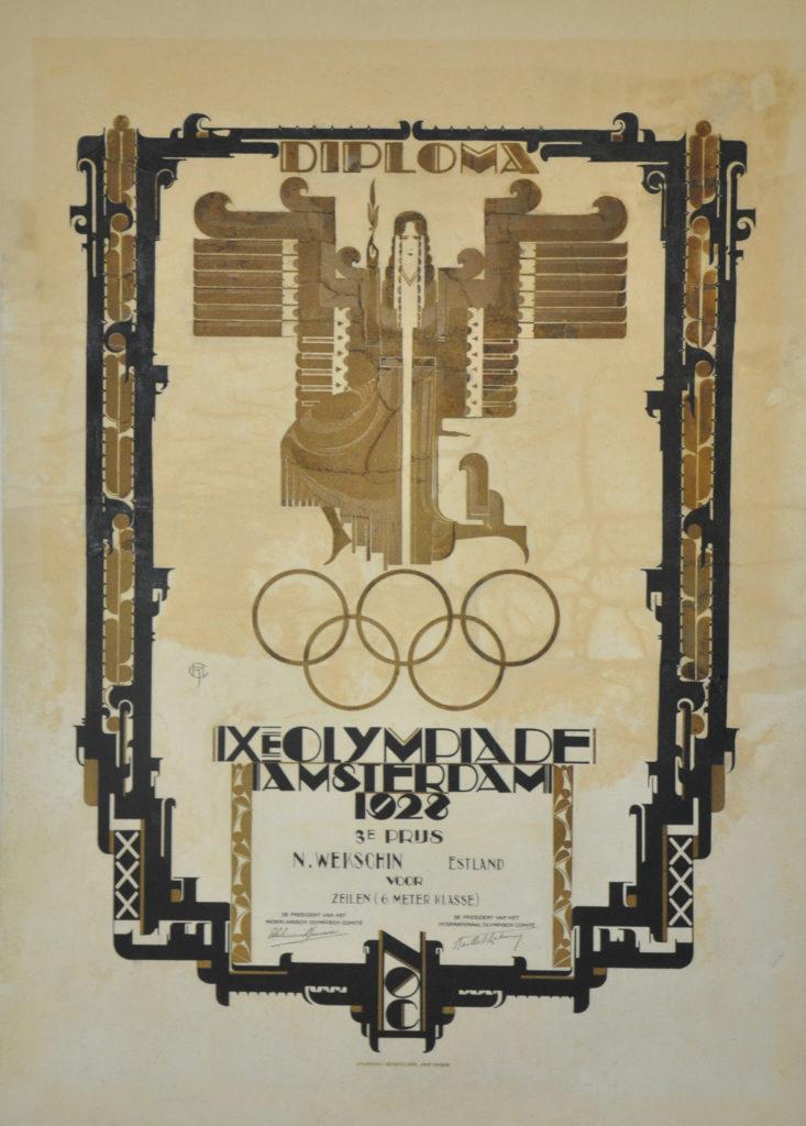 Nikolai Vekšini III koha diplom Amsterdami olümpiamängudelt