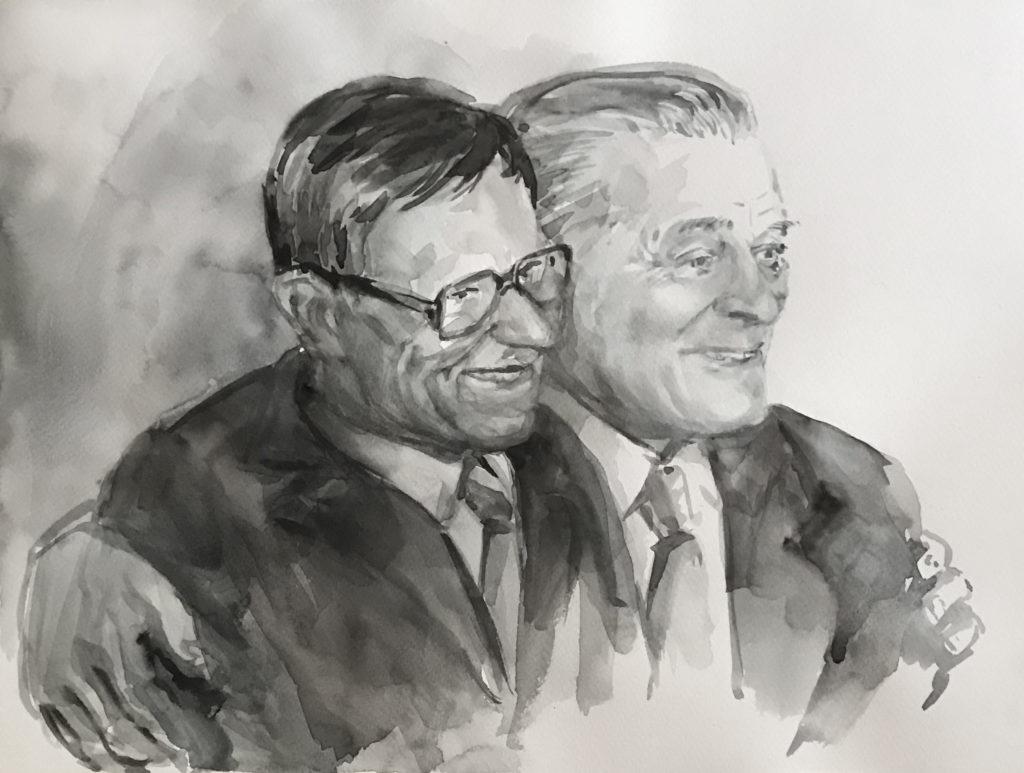 Kaks sõpra. Soome sõjamees Toivo Suuperko (vasakul) ja olümpiavõitja Kristjan Palusalu Tuššijoonistus: Allan Kukk