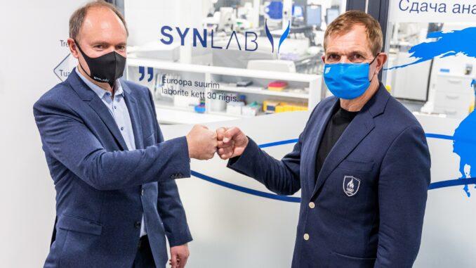 SYNLAB Eesti juhatuse liige Rainer Aamisepp ja EOK president Urmas Sõõrumaa. Foto autor Karli Saul