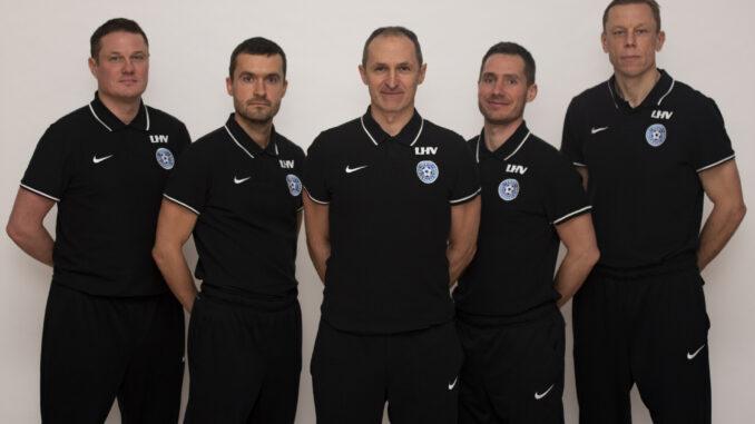 Pildil (vasakult paremale): Andres Oper, Norbert Hurt, Thomas Häberli, Michael Müller, Mart Poom Foto: Liisi Troska/jalgpall.ee